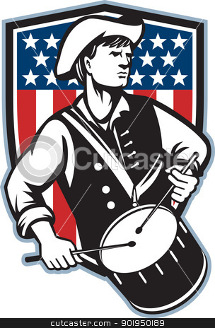 American Patriot Drummer With Flag stock vector clipart, Illustration of an American patriot minuteman revolutionary soldier drummer with drums and stars and stripes flag set inside shield done in retro style. by patrimonio
