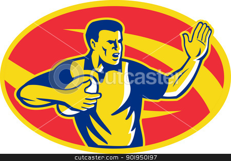 Rugby Player Running Fending Ball Retro stock vector clipart, Illustration of a rugby player with ball ball fending done in retro style set inside ellipse. by patrimonio
