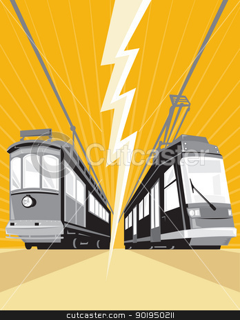 Vintage and Modern Streetcar Tram Train stock vector clipart, Illustration of a vintage and modern streetcar train tram viewed from a low angle with lightning bolt in the center done in retro style. by patrimonio