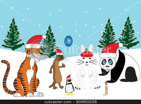 Christmas Animals stock vector clipart, A Tiger,Otter,Penguin and a Meerkat in Santa Hats with a Snowman Rabbit and Snowy Background with Xmas Trees by d40xboy