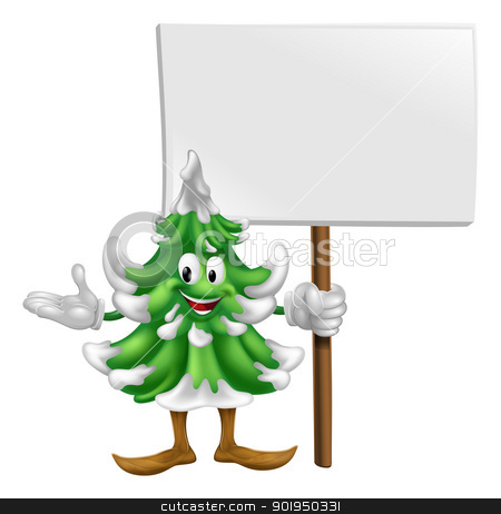 Christmas tree mascot with sign stock vector clipart, Illustration of a happy cartoon Christmas tree mascot holding a sign by Christos Georghiou