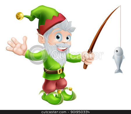 Garden gnome with fishing rod stock vector clipart, Illustration of a cute happy waving garden gnome elf character or mascot with a fishing rod by Christos Georghiou