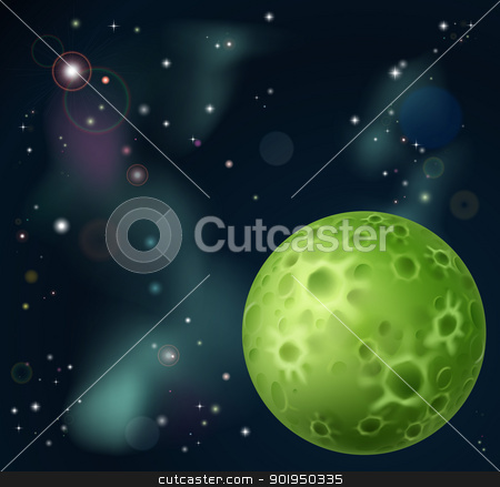 Space background stock vector clipart, An outer space cartoon background with fantasy moon in the foreground  by Christos Georghiou
