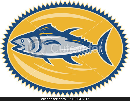 Blue Fin Tina Side Retro stock vector clipart, Illustration of a blue fin tuna side view set inside ellipse done in retro style on isolated white background. by patrimonio