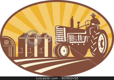 Farmer Driving Vintage Tractor Retro Woodcut stock vector clipart, Illustration of a farmer driving a vintage farm tractor with barn and silos in background done in retro woodcut style. by patrimonio