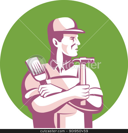 Carpenter Painter Construction Worker stock vector clipart, Illustration of a carpenter construction worker with paint brush and hammer looking to side done in retro style set inside circle. by patrimonio