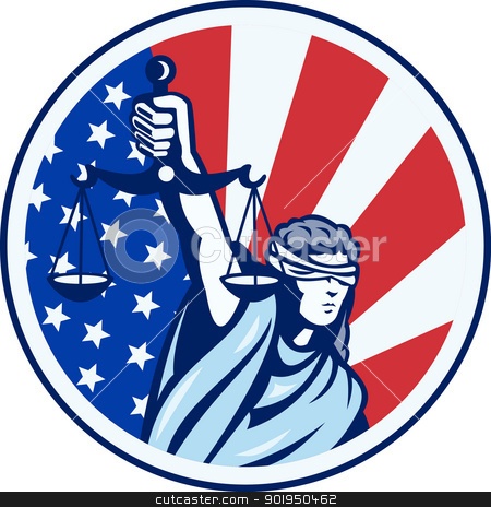 American Lady Holding Scales of Justice Flag retro stock vector clipart, Illustration of lady with blindfold holding scales of justice with american stars and stripes flag set inside circle done in retro style. by patrimonio