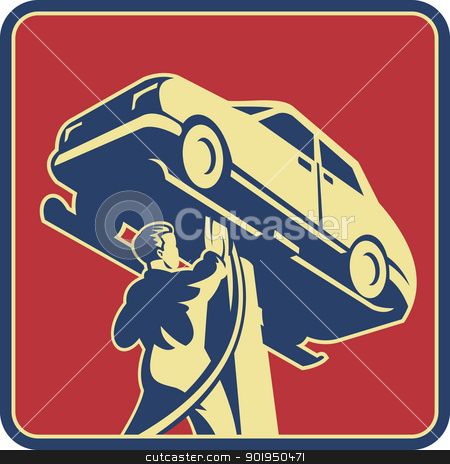 Mechanic Technician Car Repair Retro stock vector clipart, Illustration of a mechanic technician car automobile repair viewed from low angle set inside square done in retro style. by patrimonio