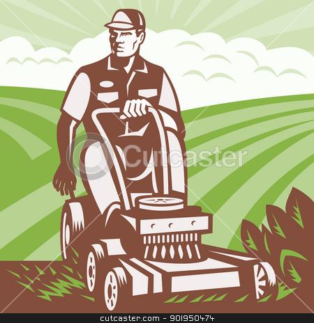 Gardener Landscaper Riding Lawn Mower Retro stock vector clipart, Illustration of a gardener landscaper riding ride-on lawn mower mowing done in retro woodcut style. by patrimonio