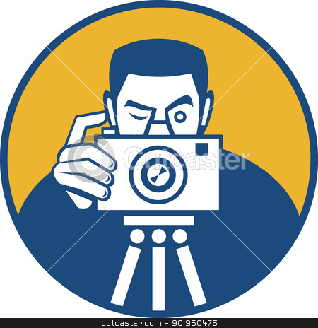Photographer With Camera Retro stock vector clipart, Illustration of a photographer shooting dslr camera front view set inside circle done in retro style. by patrimonio
