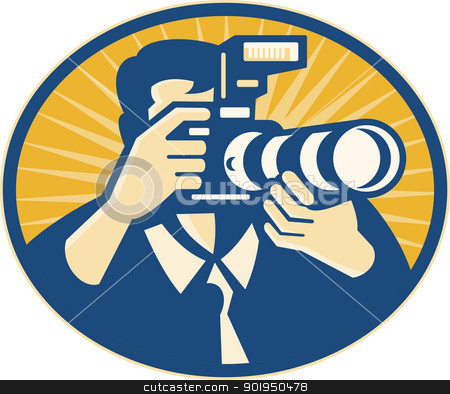 Photographer DSLR Camera Shooting Retro stock vector clipart, Illustration of a photographer shooting DSLR camera with flash and zoom lens set inside ellipse done in retro style. by patrimonio