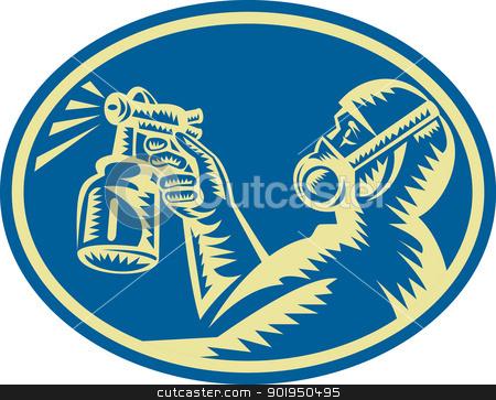 Spray Painter Spraying Gun Retro stock vector clipart, Illustration of a spray painter spraying paint spray gun done in woodcut retro style set inside ellipse viewed from side. by patrimonio