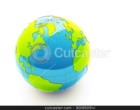 3d green earth stock photo, 3d glossy green earth on white background by Christophe Rolland