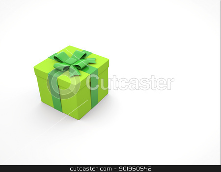 3d gift box stock photo, 3d green gift box on white background by Christophe Rolland