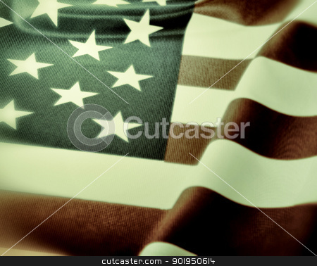 Flag of USA stock photo, Detail of Silky National Flag of United States of America - USA Flag Drapery - Vintage Look by JAMDesign