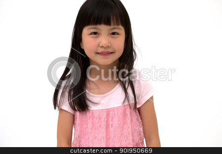Asian Girl's portrait stock photo, beautiful little asian girl isolated on white background  by blueperfume