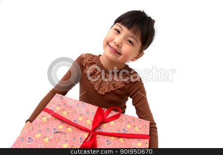 Thanks, Daddy! stock photo, A cute young girl holding a Christmas gift  by blueperfume