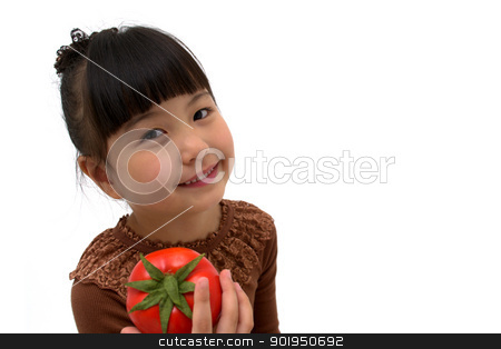 Do you want a tomato? stock photo, happy little girl with a tomato isolated on white background  by blueperfume