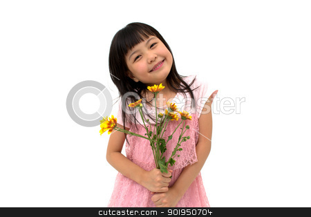 I'm Very Happy! stock photo, Happy little asian girl with yellow daisy by blueperfume
