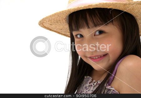 Happy Girls stock photo, beautiful little asian girl isolated on white background, close-up shot  by blueperfume