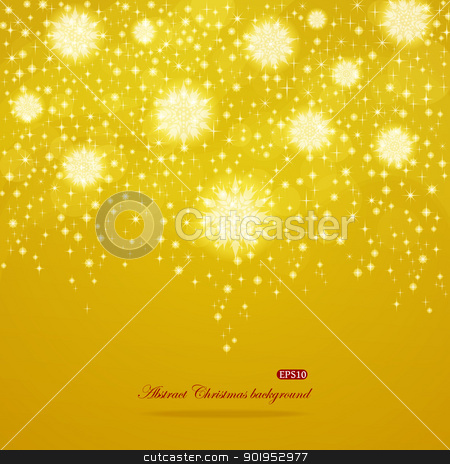 Abstract shiny Christmas background stock vector clipart, Abstract golden shiny Christmas EPS10 vector background with snowflakes by Allaya