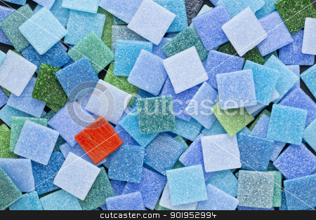 blue, green and red mosaic tules stock photo, random background of blue and green  glass mosaic tiles with a single red square by Marek Uliasz