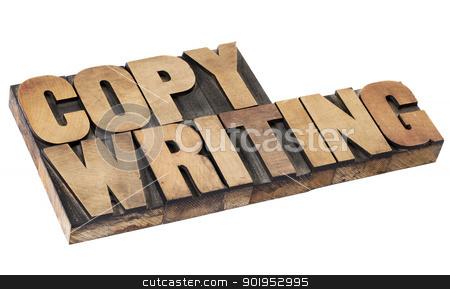 copywriting word in wood type stock photo, copywriting - isolated word in vintage  letterpress wood type by Marek Uliasz