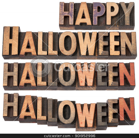 Happy Halloween stock photo, Happy Halloween - collage of isolated text in vintage letterpress wood type, different layouts by Marek Uliasz