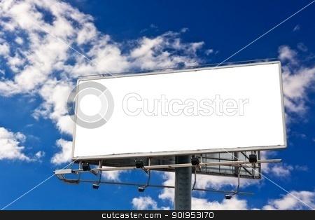 Billboard stock photo, Empty billboard in front of beautiful cloudy sky by Milsi Art