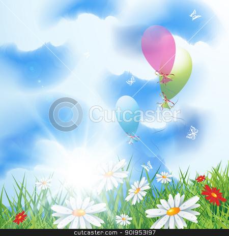 Summer landscape stock vector clipart, Summer landscape with balloons, eps10 vector illustration  by Milsi Art