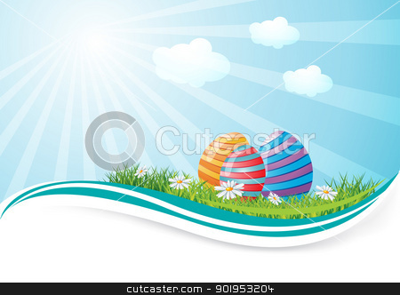 Easter eggs in field stock vector clipart, Easter eggs in field with place for text, eps10 vector illustration by Milsi Art