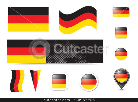 Germany flag and buttons stock vector clipart, Germany flag and buttons set, eps10 vector illustration by Milsi Art