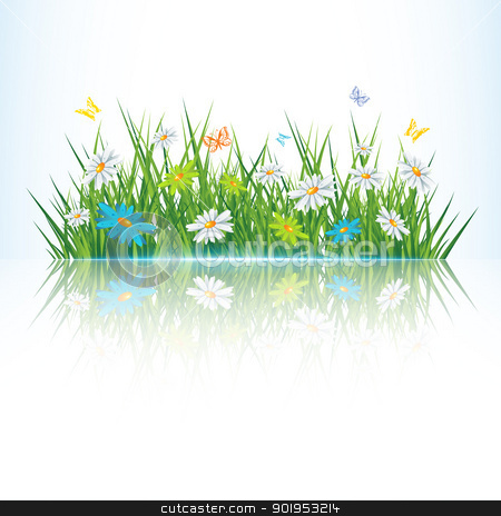 Green grass stock vector clipart, Green grass with reflection,eps 10 vector illustration  by Milsi Art