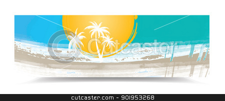Summer banner stock vector clipart, Summer banner with palm trees, eps10 vector illustration by Milsi Art