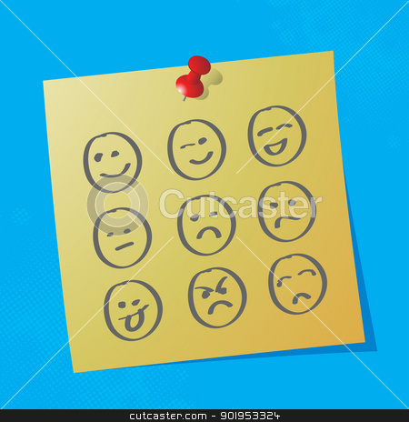 hand drawn emoticons stock vector clipart, hand drawn emoticons on sticky paper, eps10 vector illustration by Milsi Art
