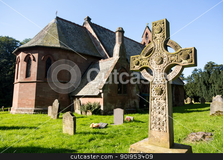 St Hilary Church Erbistock by River Dee stock photo, St Hilary Church built in 1860 in Erbistock near River Dee in North Wales by Steven Heap