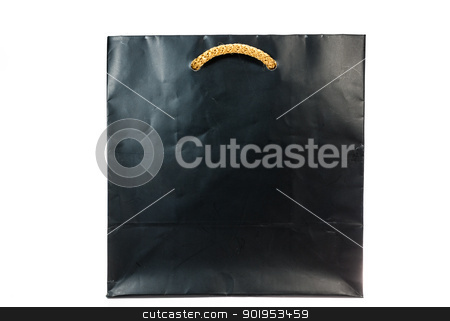 black paper bag on white background stock photo, black paper bag with handles on white background isolated by moggara12