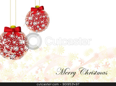 Christmas card background stock vector clipart, Christmas inspired background image with snow flakes and baubles by Michael Travers