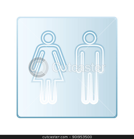 Glass toilet symbols stock vector clipart, Plate glass symbol with male and female toilet silhouette icon by Michael Travers