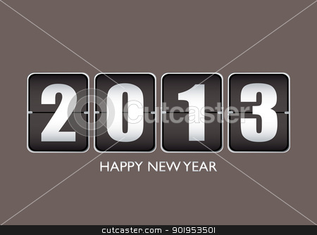 Happy new year 12013 stock vector clipart, Happy new year 2013 background with ticker date calendar by Michael Travers