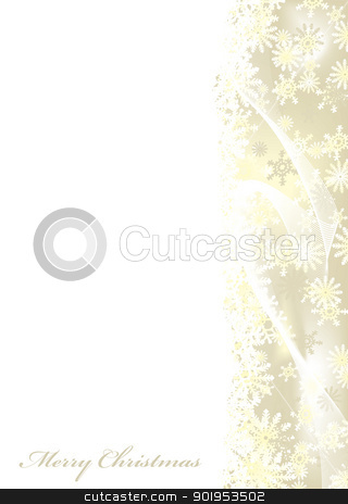 Merry Christmas gold stock vector clipart, Merry christmas white background with gold snow flake border by Michael Travers