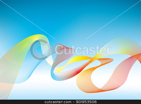 Rainbow presentation background stock vector clipart, Blue background with flowing rainbow waves by Michael Travers