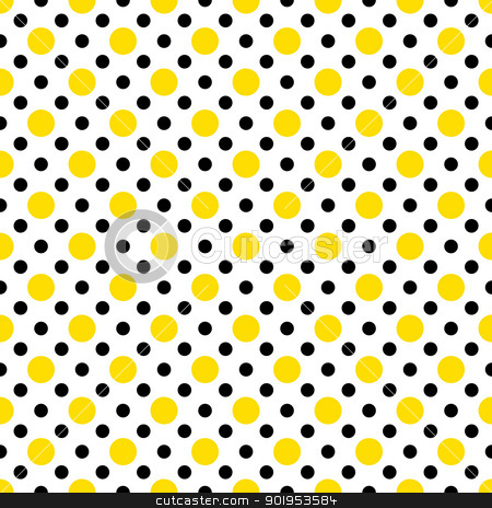 Yellow & Black Polka Dots on White stock photo, Two sizes of dots in yellow and black on a white background. Tiles seamlessly. by SongPixels