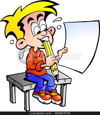 Hand-drawn Vector illustration of a young school boy sitting at a desk with a paper in his hand  stock vector clipart, Hand-drawn Vector illustration of a young school boy sitting at a desk with a paper in his hand by DrawShop - Poul Carlsen