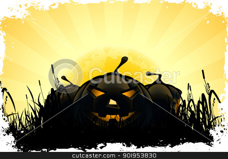 Halloween Background stock vector clipart, Halloween Pumpkins in the Grass by Vadym Nechyporenko
