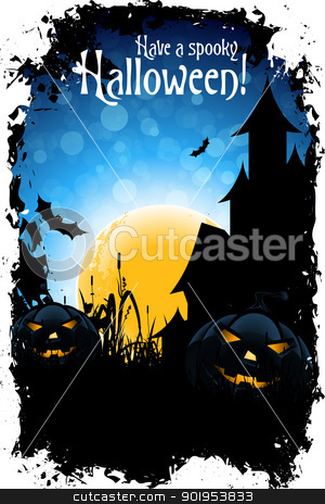 Halloween Party stock vector clipart, Grungy Halloween Background with Pumpkins, Bats, House and Full Moon by Vadym Nechyporenko