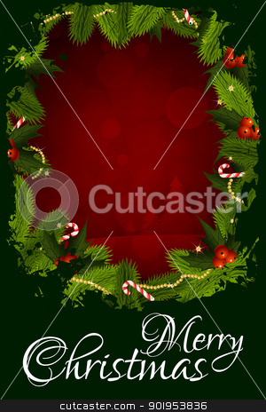 Merry Christmas Greeting Card stock vector clipart, Merry Christmas Greeting Card with Christmas Decorations by Vadym Nechyporenko