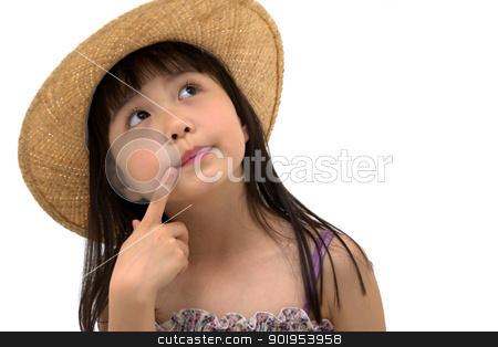 Beautiful asian girl thinking stock photo, Beautiful asian girl thinking by blueperfume