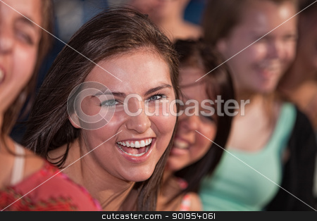Laughing Female Youth stock photo, Close up of laughing Caucasian teenage girls outdoors by Scott Griessel