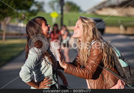Two Excited Students Talking stock photo, Two excited female teenage students talking outside by Scott Griessel